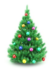 3d illustration of Christmas tree over white background with lights and colorful balls