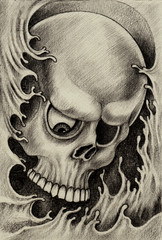 Skull art tattoo.Hand pencil drawing on paper.
