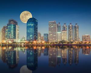 Bangkok city downtown at night, Bangkok,Thailand