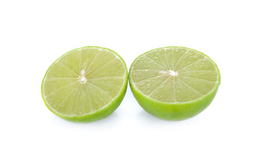 half cut lime with seed on white background
