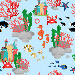 Cartoon sea-horse, crab and fishes seamless pattern on blue background. Vector illustration