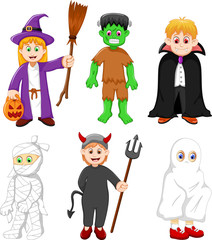 collection of kids with halloween costume
