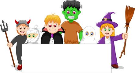 cartoon halloween set character with blank sign