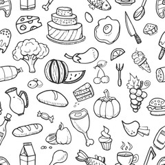 Doodle food ingredients, drinks and vegetables seamless pattern for menu design