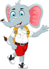 funny male elephant cartoon going to school