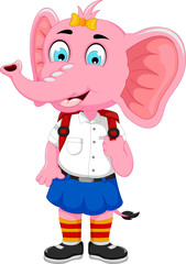 funny female elephant cartoon going to school
