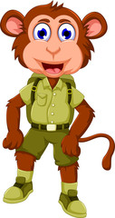 funny monkey cartoon with safari uniform