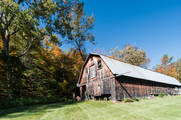 old abandoned barn in southern Vermont, New England, in the fall