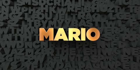 Mario - Gold text on black background - 3D rendered royalty free stock picture. This image can be used for an online website banner ad or a print postcard.