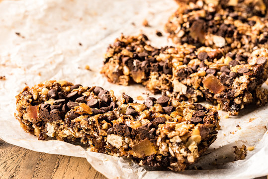 healthy homemade muesli bar with cereals, chocolate  and copy-sp
