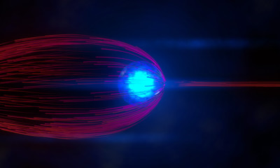 blue energy ball pushes away particles stream