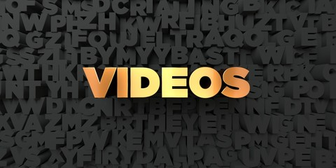 Videos - Gold text on black background - 3D rendered royalty free stock picture. This image can be used for an online website banner ad or a print postcard.