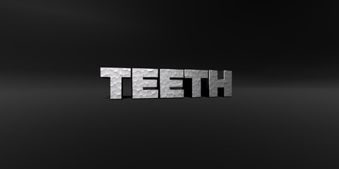 TEETH - hammered metal finish text on black studio - 3D rendered royalty free stock photo. This image can be used for an online website banner ad or a print postcard.