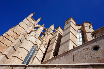 Detail of the gothic medieval cathedral of Palma de Mallorca, S