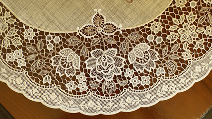 Close up Plate Plastic Lace on wooden table