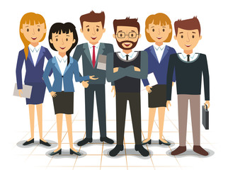 Business team of employees illustration
