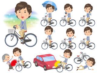 Jacket blue vest men ride on city bicycle