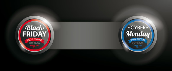2 Buttons Black Friday Cyber Monday Banner