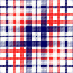 Seamless tartan plaid pattern. Checkered textile design in red & navy blue stripes on white background.
