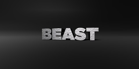 BEAST - hammered metal finish text on black studio - 3D rendered royalty free stock photo. This image can be used for an online website banner ad or a print postcard.