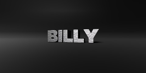 BILLY - hammered metal finish text on black studio - 3D rendered royalty free stock photo. This image can be used for an online website banner ad or a print postcard.
