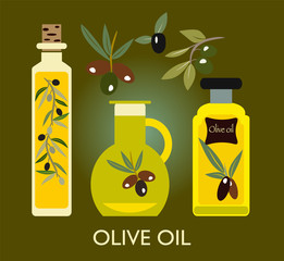 Set of the elements. Olives, olive oil, branch