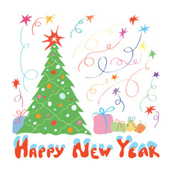 happy new year when presented with gifts/ vector green Christmas tree decorated with garland and lights on the background of colorful fireworks