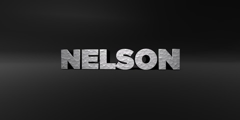 NELSON - hammered metal finish text on black studio - 3D rendered royalty free stock photo. This image can be used for an online website banner ad or a print postcard.