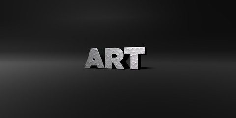 ART - hammered metal finish text on black studio - 3D rendered royalty free stock photo. This image can be used for an online website banner ad or a print postcard.