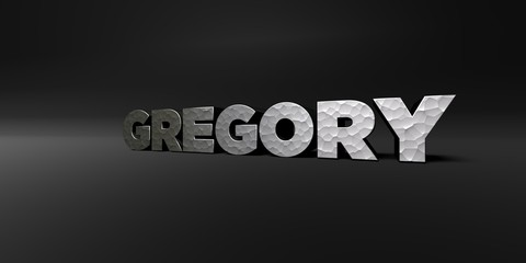 GREGORY - hammered metal finish text on black studio - 3D rendered royalty free stock photo. This image can be used for an online website banner ad or a print postcard.