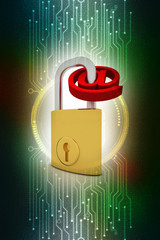 3d rendering Padlock with email