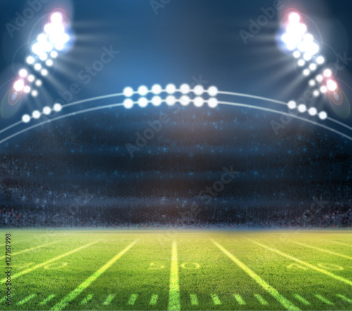 "Football Stadium Night Lights: ""Stadium Lights On A Sports Field At Night"" Imagens E"