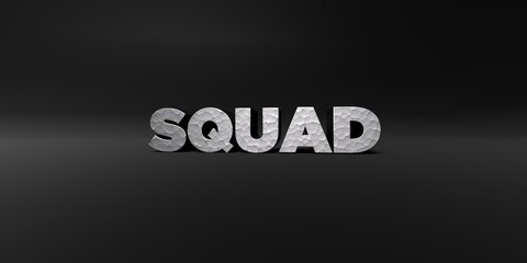 SQUAD - hammered metal finish text on black studio - 3D rendered royalty free stock photo. This image can be used for an online website banner ad or a print postcard.