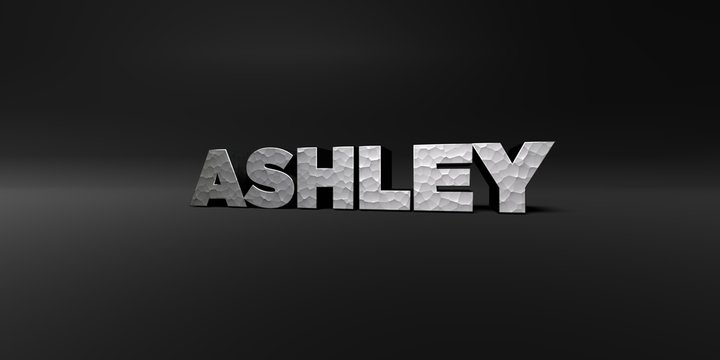 ASHLEY - hammered metal finish text on black studio - 3D rendered royalty free stock photo. This image can be used for an online website banner ad or a print postcard.