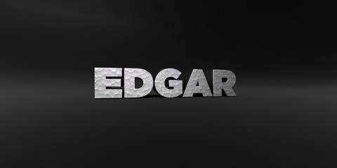 EDGAR - hammered metal finish text on black studio - 3D rendered royalty free stock photo. This image can be used for an online website banner ad or a print postcard.