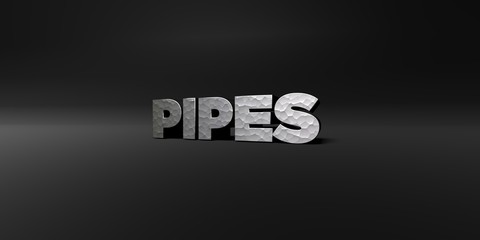 PIPES - hammered metal finish text on black studio - 3D rendered royalty free stock photo. This image can be used for an online website banner ad or a print postcard.