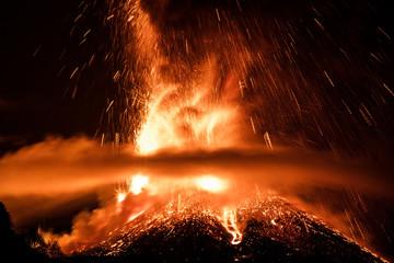 Deurstickers Vulkaan Volcano Etna Eruption