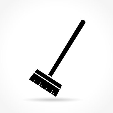 broom icon on white background