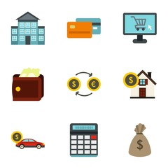 Money icons set. Flat illustration of 9 money vector icons for web