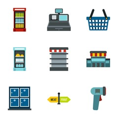 Market icons set. Flat illustration of 9 market vector icons for web