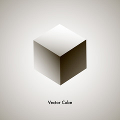 Vector grayscale cube, geometric object for a web design