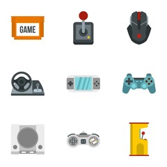 Game icons set. Flat illustration of 9 game vector icons for web