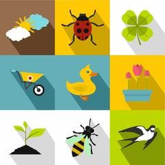 Tending garden icons set. Flat illustration of 9 tending garden vector icons for web