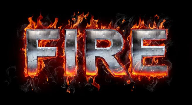 Metallic letters on fire