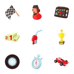 Machine race icons set. Cartoon illustration of 9 machine race vector icons for web