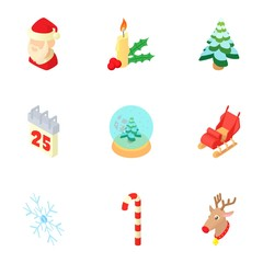 Christmas icons set. Cartoon illustration of 9 christmas vector icons for web