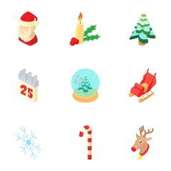 Christmas icons set. Cartoon illustration of 9 christmas vector icons for web