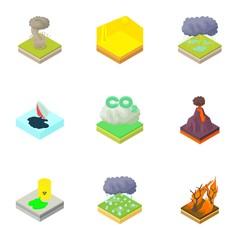 Natural disaster icons set. Cartoon illustration of 9 natural disaster vector icons for web