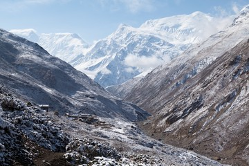 View of Annapurna III and Gangnapurna from Jharsang Khola Valley, Annapurna Circuit, Manang, Nepal