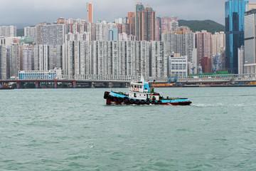 Hongkong Skyline in der Regenzeit mit Smog Wolke